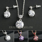 A1-S034 Fashion Solitaire 18KGP Earrings Necklace Jewelry Set Swarovski Crystal