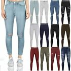 WOMENS LADIES SKINNY RIPPED JEANS SPLIT KNEE STRETCH SLIM FIT DENIM TROUSER SIZE