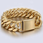 20mm  Mens Chain Gold Tone Cut Double Curb Rombo 316L Stainless Steel Bracelet