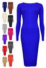 Womens Long Sleeve Midi Dress Ladies Plain Bodycon Stretch Party Dresses 8-14