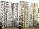 NEO GEOMETRIC MODERN LEAF PRINT LINED EYELET CURTAINS READY MADE RING TOP PAIRS