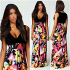 Women Sexy Deep V-Neck Floral Boho Long Maxi Evening Party Beach Dress Trusty