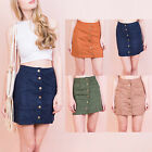AP5 Womens Ladies Suede Button Front Vintage Short Mini Bodycon Skirt