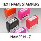 KIDS TEXT PLASTIC NAME STAMPERS *SELECT A NAME N - Z* BOXER GIFTS BRAND NEW