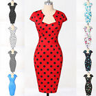 RED++S-XL 1950s 60s Rockabilly Housewife Vintage Style Swing Pinup Party Dresses