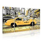 NEW YORK Manhattan Yellow Cab Taxi Canvas Framed Print 26 ~ 3 Panels