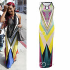 AG73 Womens Ladies Celebrity Inspired Floral Aztec Print Bodycon Maxi Dress