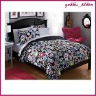 Teen Girls Black White Multi FLORAL 5/7 Pc Comforter Set Bedding TWIN FULL QUEEN