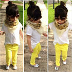 NWT Toddlers Kids Girls White T-Shirt Top+Long Pants 2Pcs Suit Outfits Set 2-7Y