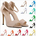 11 COLORS WOMENS ANKLE STRAP PEEP TOE SHOES STRAPPY STILETTO HIGH HEEL SANDALS