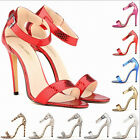 SEXY STILETTOS WOMENS ANKLE STRAP HIGH HEEL SANDALS LADIES STRAPPY PARTY SHOES