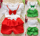 Summer New Baby Girl Clothes Bow Tie Top T-shirt + Ruffle Shorts Pants Outfits