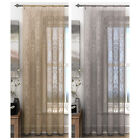 HOLLY VOILE PANELS - SLOT TOP HANGING DOOR NET CURTAINS ORNATE DESIGN