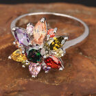 VALUABLE Multi-Color Semi-precious Stone SILVER Ring Size 6 /7 /8 /9 T7718