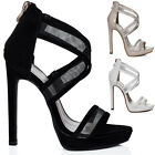 WOMENS PLATFORM MESH HIGH HEEL STILETTO SANDALS SHOES SZ 3-8