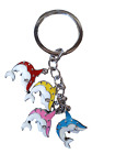 CUTE DIAMONTE MULTI COLOURED DOLPHINS FISH ENAMEL METAL KEYRING CHARM UK SELLER