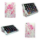 APPLE IPAD MINI  WHITE MULTI PINK FLOWER DESIGN PRINT PU LEATHER CASE COVER
