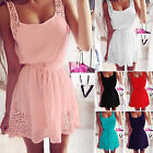 Womens Casual Summer Chiffon Party Evening Cocktail Sleeveless Mini Dress Celeb