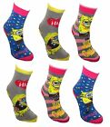 *REF113 reduced see notes Sbob Squarepants Girl's 6 pack Non Skid Slipper Socks