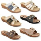 Womens Ladies Slip On Mules Diamante Wedge Platform Open Toe Sandals Shoes Size