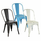 BENTLEY HOME METAL SIDE CHAIRS STEEL RETRO DISTRESSED DINING BISTRO 3 COLOURS
