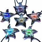 Fashion Handmade Glass Sea-Star Flower Inside Murano Lampwork Pendant Necklace