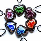 New Fashion Heart Love Rose Flower Inside Murano Lampwork Glass Pendant Necklace