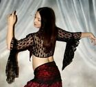 We3 Belly Dance Steampunk tribal Goth Lolita Tribal Unlined Lace Tie Top