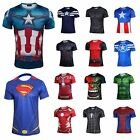 Men Costume Superhero Captain America Vogue T-Shirts Short Sleeve Sports Jersey