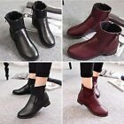 New Women Faux Leather Shoes High Top Side Zip Flats Casual Shoes  Ankle Boots