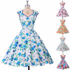 Blue Floral Vintage Style Sleeveless Ladies 50s 60s Rockabilly Party Swing Dress