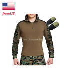 Tactical Hunting Military Combat Long Sleeve Shirt Elbow Pads Digital Woodland