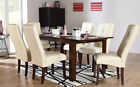 Java & Logan Extending Dark Wood Dining Table & 4 6 Leather Chairs Set (Ivory)