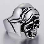 Cool Punk Black Silver Tone Pilot Skull Mens Boys 316L Stainless Steel Ring 8-13