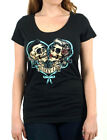 Lucky 13 t shirt women scoop neck black cotton lovers muerte day of the dead