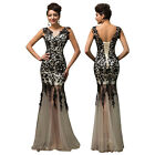 New Long Black Red Lace Appliques Gown Evening/Formal/Party/Cocktail/Prom Dress
