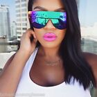 Flat Top Mirrored Aviator Multi Color Reflective Lenses Futuristic Sunglasses
