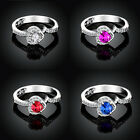 Heart Shaped 3 Colors Swarovski Crystal 18K White Gold Gp Cocktail Finger Rings