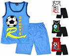 Boys Printed Football Vest Top And Short Set Kids Sports Kit New Ages 3-10 Years