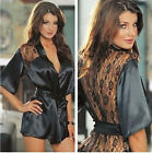 Women Lingerie Satin Lace Black Pajamas Intimate Sleepwear G-string Pajamas New
