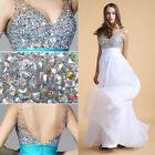 New BEADED Long Prom Bridesmaid Dresses Wedding Evening Formal Party Homecoming