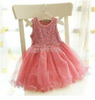 Kids Baby Party Princess Skirt Girls Solid Lace Floral TUTU Dress PINK SHQC