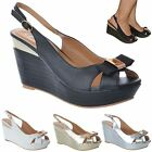 WOMENS LADIES SLINGBACK PLATFORM WEDGE BOW PEEP TOE SUMMER SANDALS SHOES SIZE