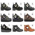 Ladies Chelsea Ankle Boots Flat Low Heel Strappy Biker Cut Out Shoes Size
