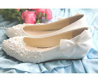 Sequins Elegant Pearl Bows Wedding Wedge Party Evening Women shoes