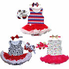 Newborn Girls Toddle Baby Infant Dresses Outfits Tutu 1Set Romper+Headband+Shoes
