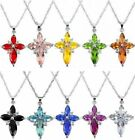 New Silver Plated Crystal Rhinestone Cross Pendant Chain Necklace