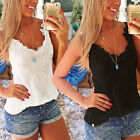 Sexy Women Summer Casual Sleeveless Shirts Cotton Lace Vest Tops Blouse S/M/L/XL