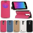 For LG Spirit 4G LTE H440N H420 Flip View Cover Slim Leather Case Holder Stand