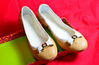 New In Box Tory Burch Eddie Ice Coffee/Bleach Bow Leather Ballet Slipper Shoe